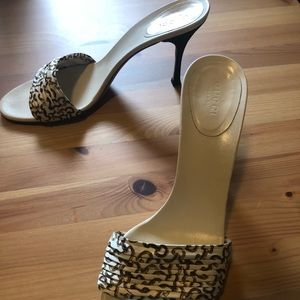 Gucci Shoes - Authentic Gucci Cream Silk Slip On Heels Sandals